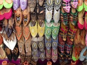 Genie slippers in the souks, some better made than others.