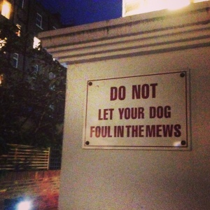 Do Not let Your Dog Foul in the Mews