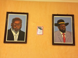 Rebel leader and former president John Garang (left) and current president Salva Kiir.  Following the 2005 peace agreement Garang was killed in a helicopter crash.
